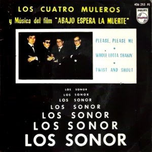 """portada del disco Los Cuatro Muleros y Música de la Película """"Abajo Espera la Muerte"""""""