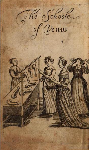 Ilustración de portada de La Escuela de Venus, de 1680