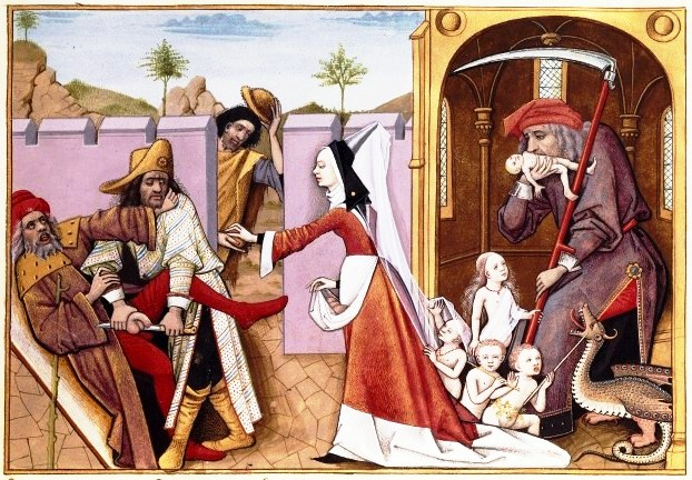 Escena de la Cena de Navidad con cuñado comiendo el plato principal mientras se despide a niños pidiendo el aguinaldo, Siglo XV.