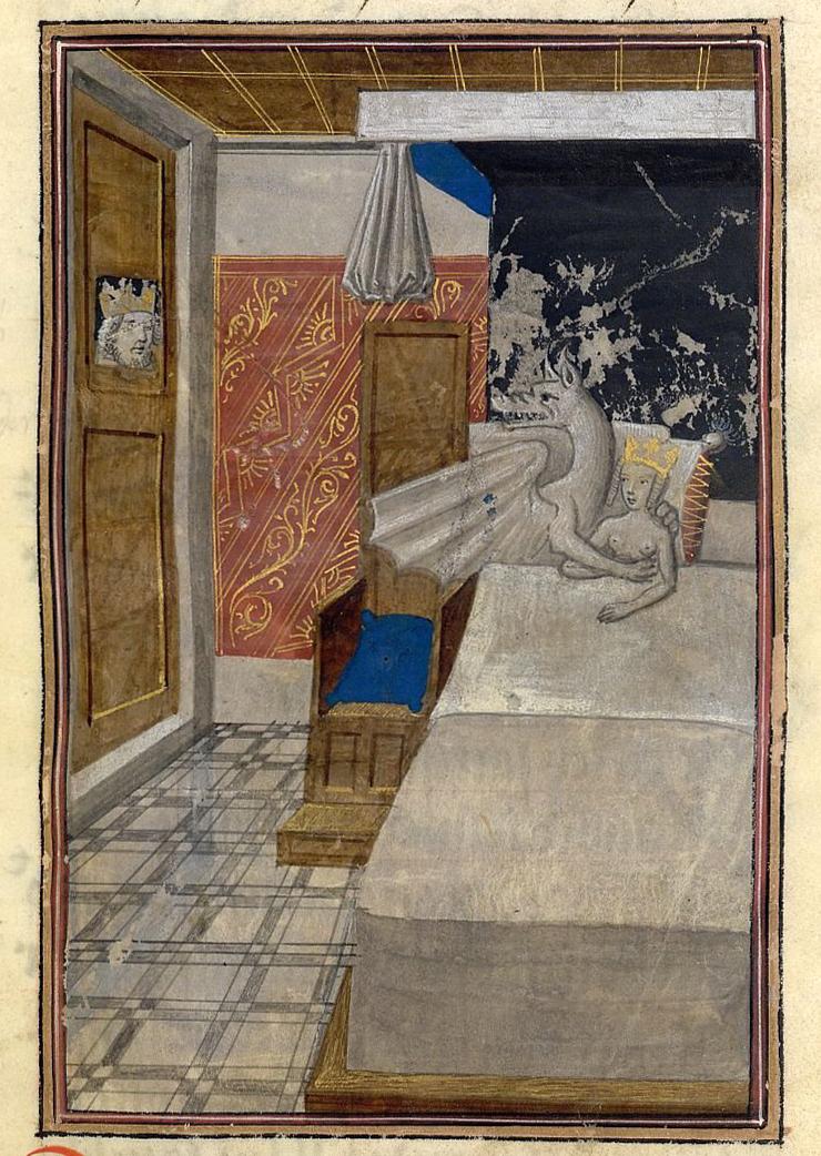 Concepción de Alejandro Magno, Ilustración en la traducción de la obra Historiae Alexandri Magni de Quintus Curtius Rufus, hacia 1468-1475 en Brujas