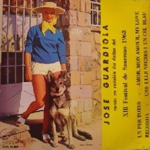 portada del disco José Guardiola Canta en Catalán los Éxitos del XIII Festival de San Remo