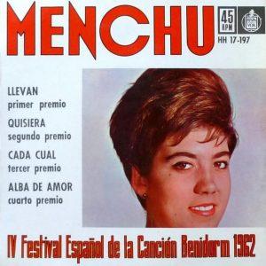 portada del disco Menchu: IV Festival Español de la Canción Benidorm 1962